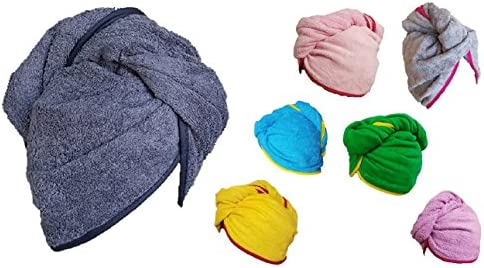 100% algodón secado rápido pelo toalla turbante Twist Wrap Loop ...