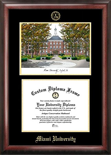 - Campus Images OH982LGED Miami University Ohio Embossed Diploma Frame with Lithograph Print, 8.5