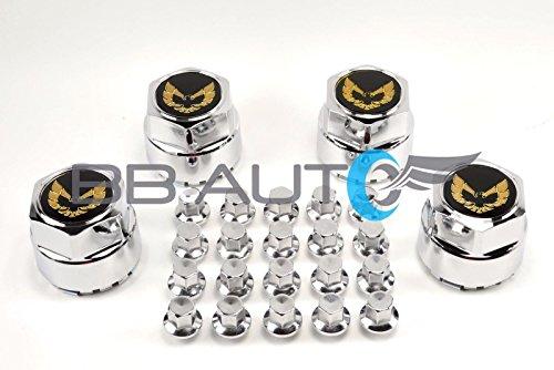 BB Auto 77-81 Pontiac Firebird Trans Am Formula Gold Bird Snowflake Turbo Aluminum Wheel Hub Center Caps with Metal Clip Plus 20 Chrome Lug Nuts