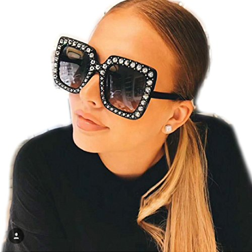 YABINA Womens Fashion Imitation Diamonds Cat Ear Square Classic Vintage Sunglasses (A)