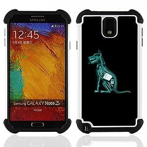 """SAMSUNG Galaxy Note 3 III / N9000 / N9005 - 3 en 1 impreso colorido de Altas Prestaciones PC Funda chaqueta Negro cubierta gel silicona suave (Perro se comió la tarea X Ray divertido"""")"""