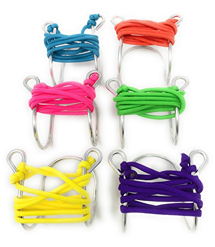 Wine Glass Necklace with Assorted Colored Cords, Aluminum Neon Plus Variety Pack (Set of 6)