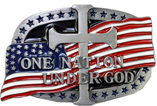 One Nation Under God American Flag And Cross Belt Buckle