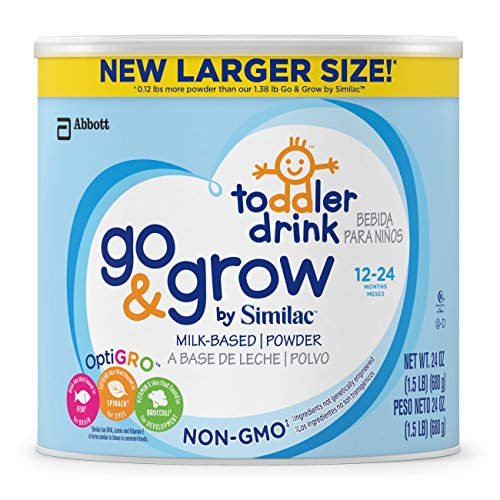 Go & Grow by Similac Non-GMO Milk Based Toddler Drink, Powder, 24 Ounce (Pack of 6)