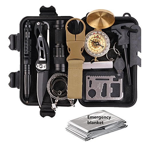 Survival Gear Kits 13 in 1- Outdoor Emergency SOS Survive Tool for Wilderness /Trip / Cars / Hiking / Camping gear - Wire Saw, Emergency Blanket, Flashlight, Tactical Pen, Water Bottle Clip ect., - Edge Safety Ruler