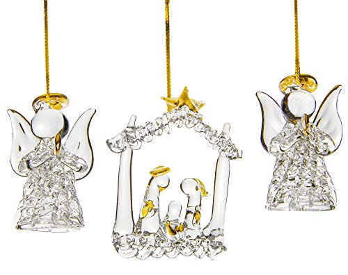 Spun Glass Ornaments, Christmas Tree Ornament Decorations, Set of 3, Two Angels, and a Nativity Whimsical Xmas Ornaments (Spun Ornament Glass Tree)