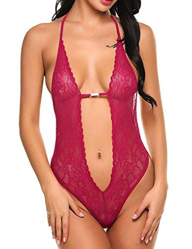 Naggoo Womens Lingerie Crotchless Bodysuit
