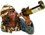 Deco 79 Anytime Bar Corner Decor Polystone Pirate Wine Holder