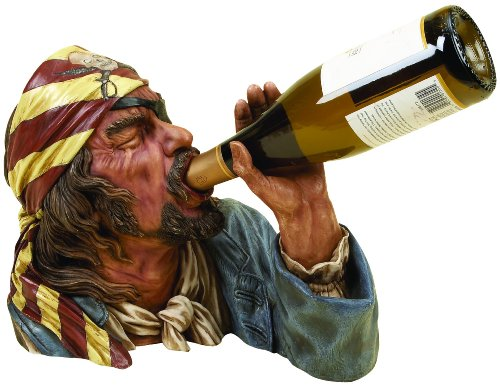 Deco 79 Anytime Bar Corner Decor Polystone Pirate Wine Holder ()