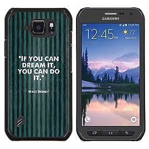 LECELL--Funda protectora / Cubierta / Piel For Samsung Galaxy S6Active Active G890A -- soñar con hacerlo texto de motivación verde --