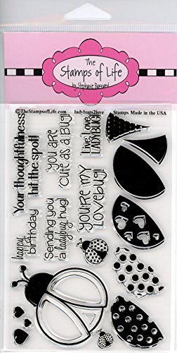 The Stamps of Life LadyBugs2Love Clear Stamps for Card Making and Scrapbooking (4x6 inch sheet) by Stephanie Barnard - Cute Lady Bugs and sentiments
