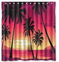 Summer Beach Palm Tree Blue Sea Sunshine 100% Polyester Shower Curtain
