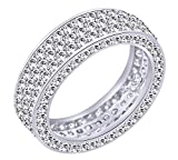 AFFY Round Cut White Cubic Zirconia Eternity Anniversary Band Ring In 925 Sterling Silver Ring Size-9.5