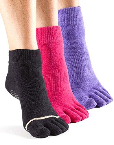toesox Women's Ankle Full Toe 3-Pack Black/Fuchsia/Light Purple Small