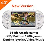 atgames portable - CZT new version 64Bit 4.3 Inch 8GB Handheld Game Console build in 1200+ games Video Game Console Support NEOGEO/CPS/FC/SFC/GBA/GBC/GB/SMC/SMD/SEGA Games MP3 MP5 Player Ebook Camera Recording(White)