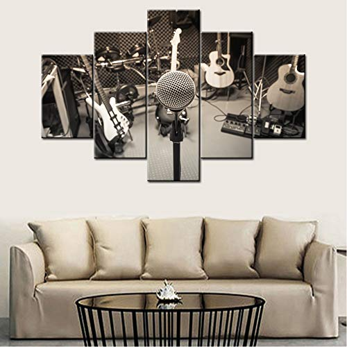 Focus Microphone Artwork - Music Series 5 Piece Wall Artwork Rock Band Guitar Piano Shelf Drum Set with Lights in Black and White Background Modern DJ Home Decor for Living Room Bedroom -60
