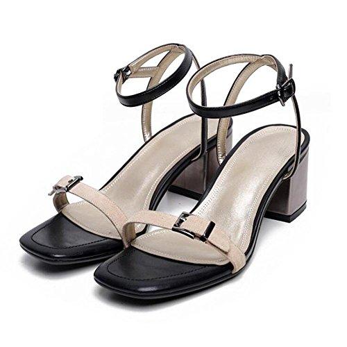Mr. LQ - Moda femenina de cuero genuino Open Toe Tobillo hebilla Sandalias Khaki