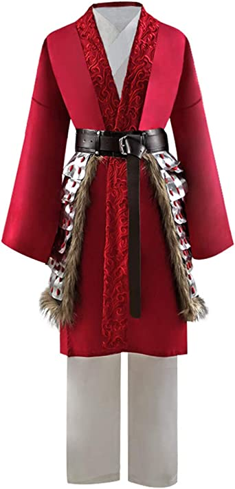 Amazon Com 2020 Hua Mulan Costume Adult Women Outfits Cosplay Full Set L Red Clothing