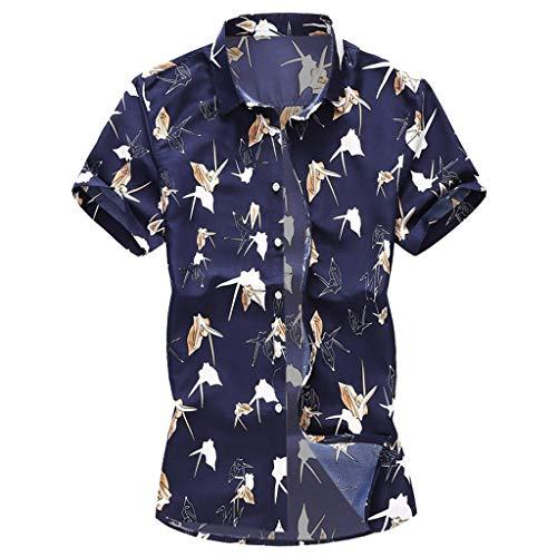 YKARITIANNA Summer New Men Casual Summer Printed Button Short Sleeve Hawaiian T-Shirt Top Blouse