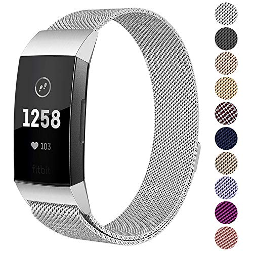 Kuxiu Replacement Bands Compatible for Fitbit Charge 3/ Charge 3 SE Fitness Activity Tracker, Small & Large Milanese Loop Magnetic Stainless Steel Wristband for Women Men (Silver, L(5.7-9.1))