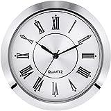 Hicarer 2-1/8 Inch (55 mm) Quartz Clock Fit-up/Insert, Fit Diameter 1-7/8 to 2 Inch (48-50 mm) Hole, Zinc-alloy Metal Case, Roman Numeral (Silver)