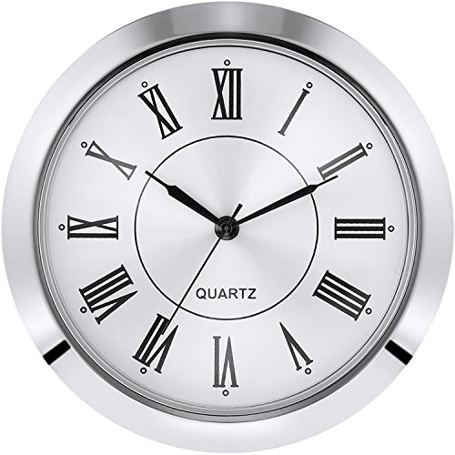 Hicarer 2-1/8 Inch (55 mm) Quartz Clock Fit-up/Insert, Fit Diameter 1-7/8 to 2 Inch (48-50 mm) Hole, Zinc-alloy Metal Case, Roman Numeral (Silver) by Hicarer