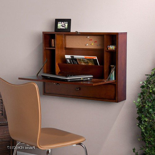 Wall-Mount Laptop desk, Brown Mahogany + Expert Guide by Support Haalpy