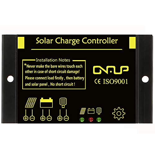 SUNER POWER Intelligent Solar Charge Controller – Waterproof 12V/24V PWM Solar Panel Battery Regulator – Load Photocell Control & Work Time Setting