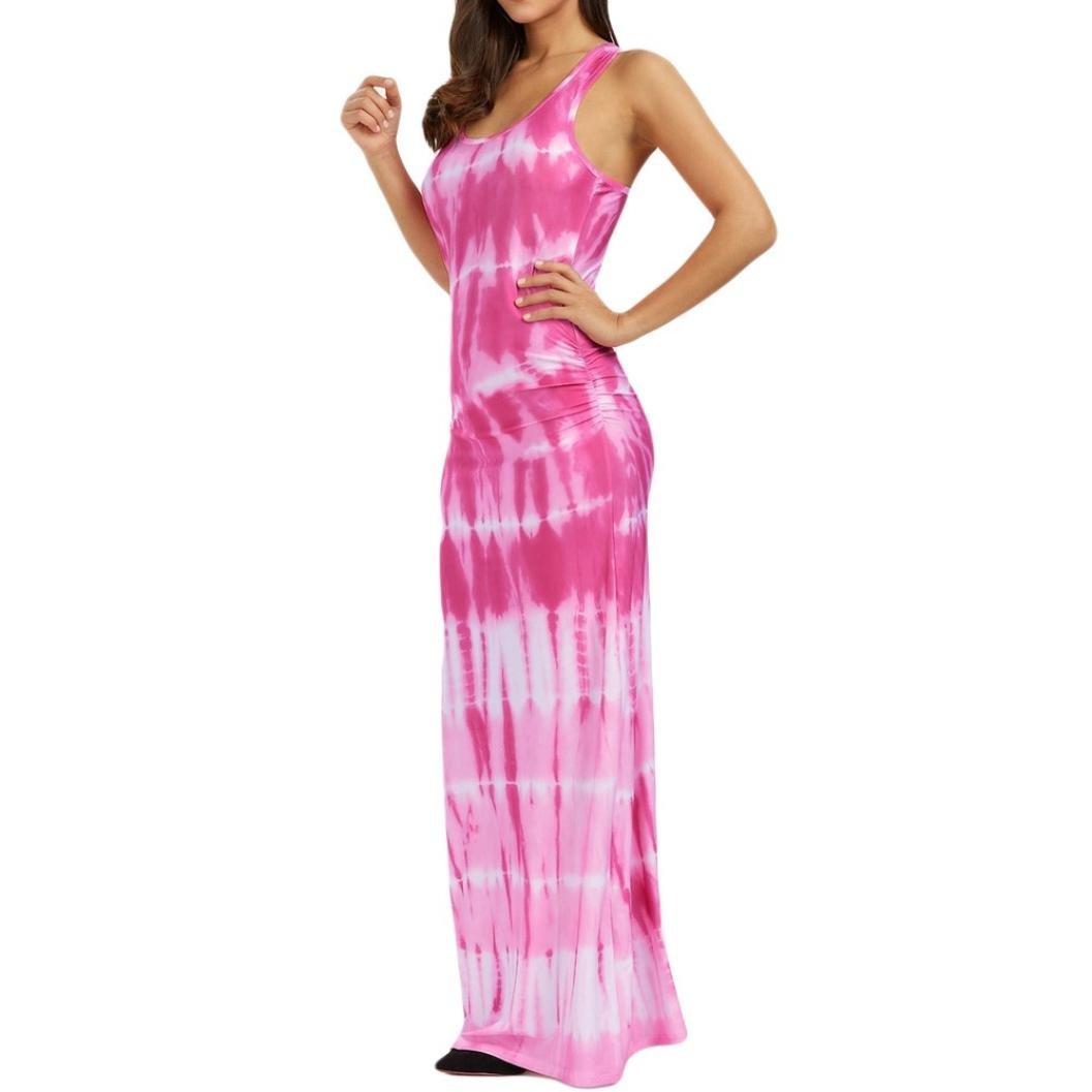 19a13d0094 VEMOW Summer Dresses for Women Sexy Maxi Halter Neck Sleeveless Beach Dress  Long Slip Boho Prom Casual Irregular Loose Linen Dresses - Bohemian Tie-Dye  ...