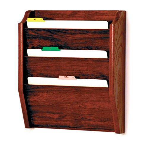 Wooden Mallet 3-Pocket File Holder, Legal Size, Mahogany