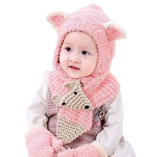 (Inkach Baby Girls Boys Winter Hat Scarf Gloves Set Kids Earflap Hood Scarves Crochet Knit Skull Caps (Pink))