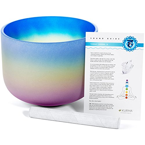 Throat Chakra Sound Bowl G Note, Rainbow Ombre Blue Purple, Mallet Included, Sound (10 inch) by Kurma Yoga