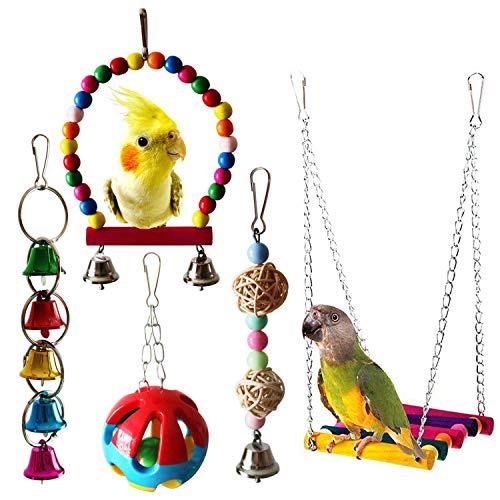 Bird Toys – 5pcs Bird Parrot Toys Hanging Bell Pet Cage Hammock Swing Toy Cockatiels Conures Macaws – Sticks Kabob…