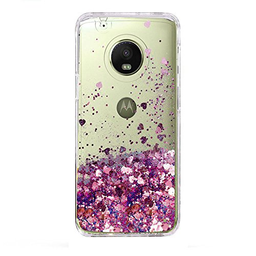 Moto E4 Case, Skmy Liquid Glitter Sparkle Girl Women Cute Clear TPU+Shockproof Hard PC Protective Case for Motorola Moto E4 (Rose Gold)