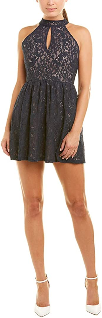 JOA Womens Lace High Neck Fit and Flare Dress