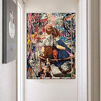 ganlanshu Graffiti Boy Kiss Girl Art Pintura al óleo Lienzo Pintura póster e impresión decoración de Arte de Pared,Pintura sin Marco,45x67cm: Amazon.es: Hogar