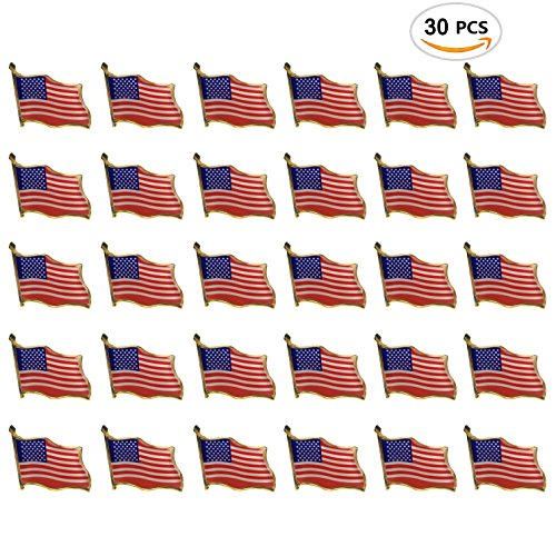 30PCS American Flag Waving Lapel Pins United States USA Badge Pin by CSPRING - Flag Design Lapel Pin