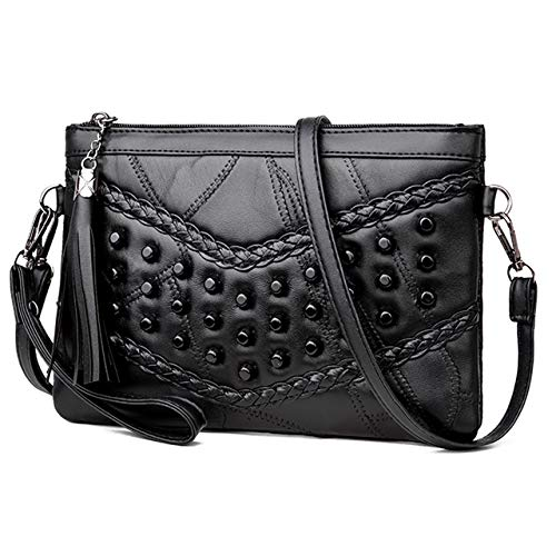 CHIC DIARY Women Leather Studded Crossbody Bag with Tassel Top Zipper Rivets Shoulder Bag Clutch Purse ()