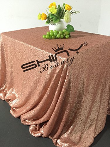 Burgundy Elegance Square Tablecloth (ShinyBeauty 50x50Inch Square Blush Sequin Tablecloth,50x50Inch Tablecloth Perfert for Birthday,for Party,for Wedding)