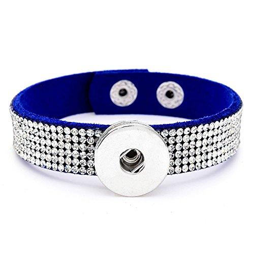 Pewter Slave Bracelet - DIY 1pcs Charm Rhinestones Leather Bracelet for Noosa Snaps Chunk Button A098