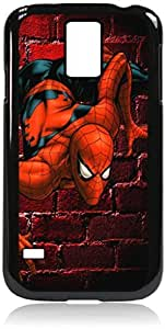 linJUN FENGspiderman on a brick wall- Hard Black Plastic Snap - On Case with Soft Black Rubber LiningGalaxy s5 i9600 - Great Quality!