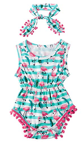 0-3 Months Newborn Baby Flamingo Leaves Graphics Tassel Romper Outfits Apparel Costume Set Shower Gift for Baby Girl Pink