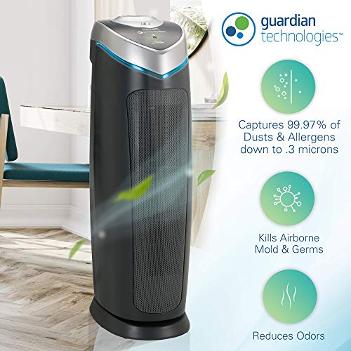 Germ Guardian True HEPA Filter Air Purifier for Home, Office, Bedrooms, Filters Allergies, Pollen, Smoke, Dust, Pet Dander, UV-C Sanitizer Eliminates Germs, Mold, Odors, Quiet 22 inch 3-in-1 AC4825
