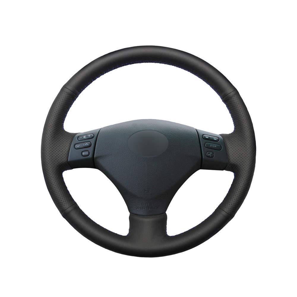 KDKDKLMB Cubierta del Volante Cubierta del Volante de Cuero Artificial PU Negro Cosido a Mano para Lexus RX330 RX400h RX400 2004-2007 Toyota Corolla Verso Camry