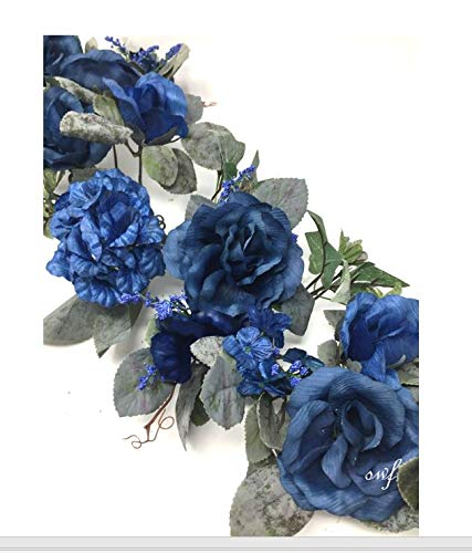 "28"" Crinkle Rose Swag Artificial Silk Wedding Bridal Bouquet Craft Flowers Home Decor (Blue)"