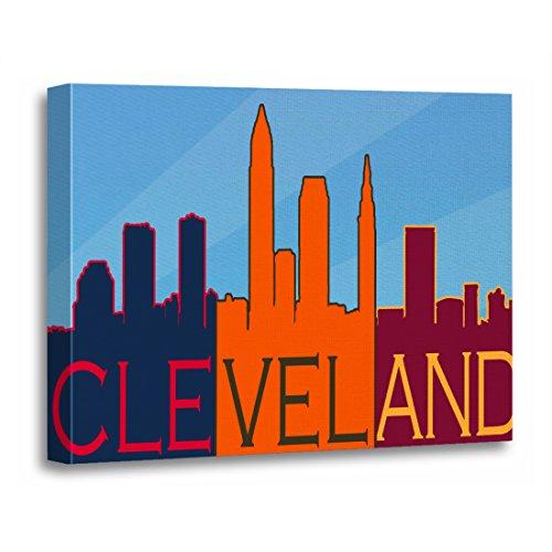 TORASS Canvas Wall Art Print Sports Cleveland Skyline Artwork for Home Decor 16