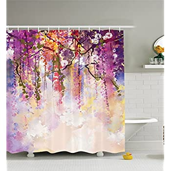 Delicieux Shower Curtain Set Watercolor Waterproof Mildew Soap Resistant House  Bathroom Decorations Bright Colorful 100% Polyester