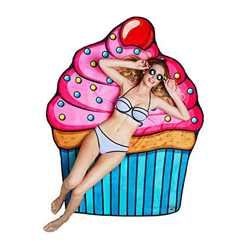 Giant Cute Pink Frosted Cupcake Beach Towel, Oversized Picnic Round Beach Blanket, Ultra-Soft Microfiber Towel, 5 Feet Wide, Washing Machine Friendly