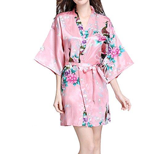 VILLAVIVI Vestido Párrafo Corto Mujer Kimono Pavo Flores Satén Albornoces Pijamas Rosado