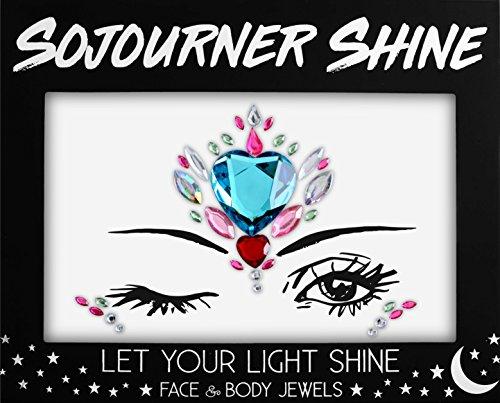 Heart Blue Glitter (Face Jewels Glitter Gems Rhinestones – Eye Body Jewels Gems | Rhinestone Stickers | Body Glitter Festival Rave & Party Accessories by SoJourner (Blue Heart))